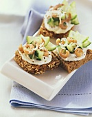Cucumber sandwich with shrimps
