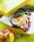 Kohlrabi and ham on toast