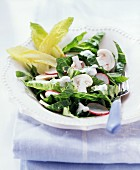 Romaine lettuce with cheese dressing & button mushrooms