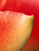A slice of water melon against red background