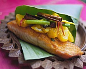 Salmon with spicy pineapple (Seychelles)