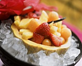 Fruit compote with vanilla syrup