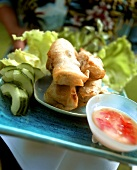 Vietnamese lucky rolls with spicy dip