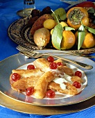 Baked bananas and fruit plate with exotic fruit