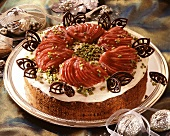 A red wine pear gateau for Christmas