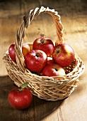A small basket of red apples