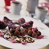 Chocolate truffles and chocolates with coffee