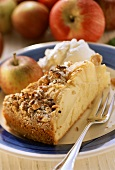A piece of apple cake with nuts