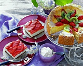 Strawberry quark cake; strawberry cheese slice
