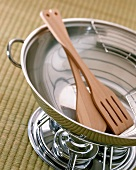 Stainless Steel Wok with Wooden Utensils