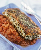 Cod fillet with herb crust on vegetable ragout