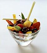 Fruit salad with lemon grass