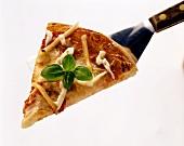 Ein Stück Pizza Margherita mit Basilikum auf Pfannenheber