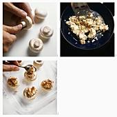 Stuffing mushroom caps