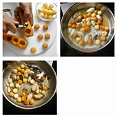 Cutting out and sweating vegetable balls