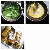 Blanching chard, frying pancakes, pouring sauce over pancakes