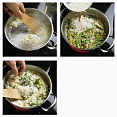 Making vegetable rice with green and white asparagus