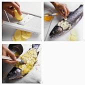 Preparing salmon trout with potato crust