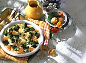 Broccoli & goat's cheese gratin with apricots & flaked almonds