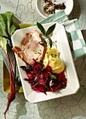 Smoked pork rib (Kassler) with beetroot & mashed potato
