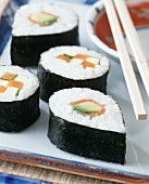 Nori maki sushi with salmon and vegetables