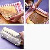 Making a mocha roll (sponge roll)