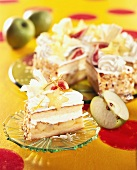 Apple cream gateau decorated with carambola slices and figs