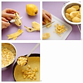 Peeling and dicing quinces and covering a cake base with them