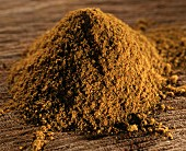 Curry powder on brown background