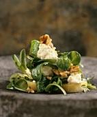 Corn salad with sheep's cheese and walnut