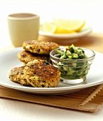 Fish cakes with spicy cucumber salad