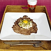 Beef fillet with horseradish potato salad and egg