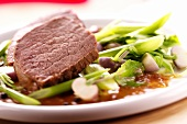 Roast beef with celery and turnip