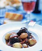 Beef with mushrooms and onions (Boeuf bourguignon)