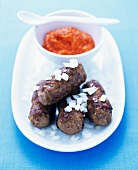 Cevapcici with pepper dip