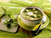 Brussels sprout soup with cheese balls