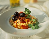 Fusilli alla calabrese (Fusilli with peppers and olives)