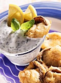 Baked oyster mushrooms with yoghurt and herb dip