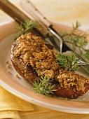 Venison chop with hazelnut crust