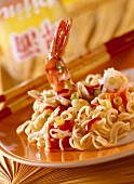 Chinese egg noodles with vegetables & jumbo prawns
