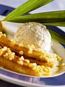 Flambéed bananas with coconut ice cream
