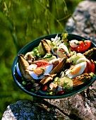 Salade Nicoise with artichokes (outdoors)