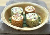 Colourful tortilla rolls