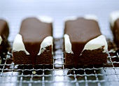 Chocolate slice with vanilla ice cream