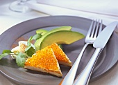 Caviare & toast with avocado fan