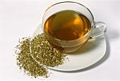 Salad burnet root tea and root (Poterium sanguisorba)