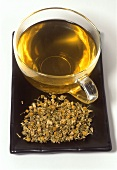 Camomile tea and dried flowers