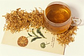 Marigold tea and dried flowers (Calendula officinalis)