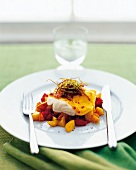Cod with diced potatoes and tomato salsa