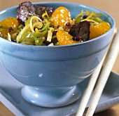 Beef with mandarin oranges from the wok